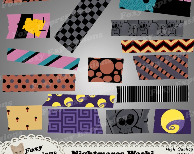 Nightmare Digital Washi tape paper comes in haunting designs; tombstones, pumpkins, stitched rag dolls, moons, snakes, vampire bites & more