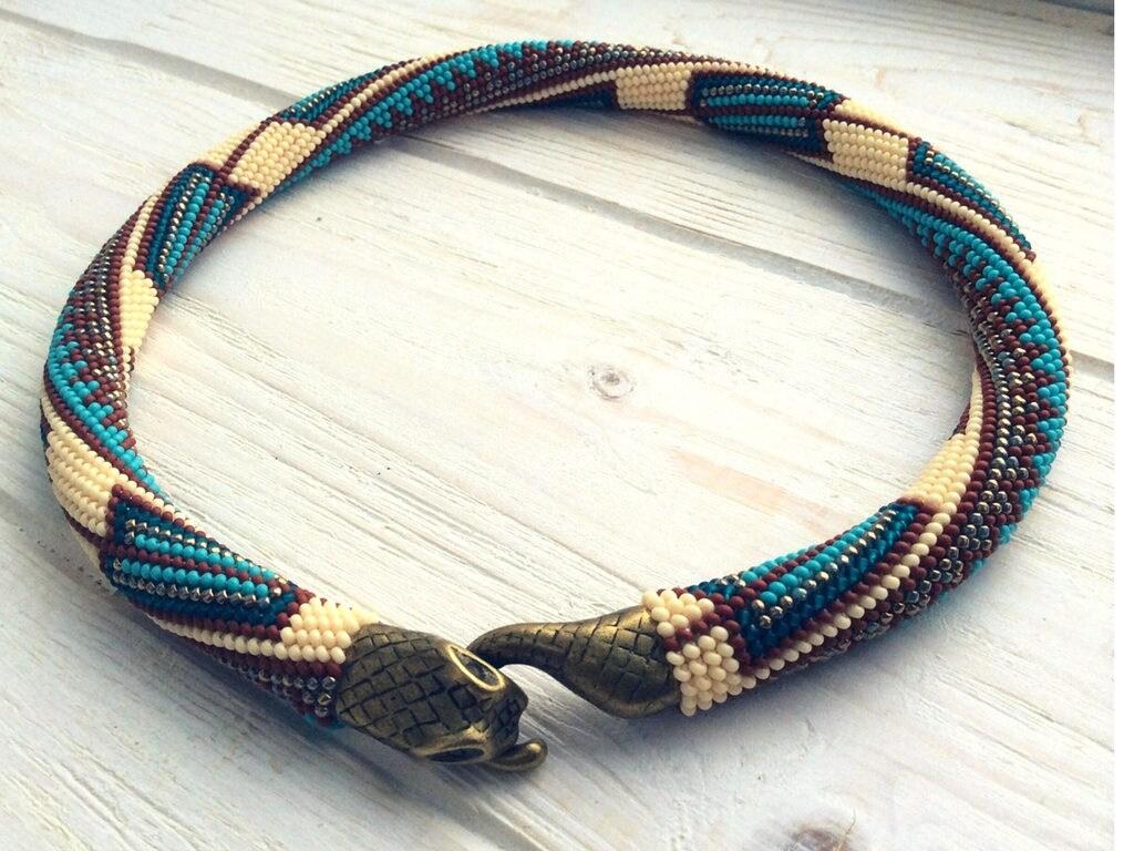 Cordón del ganchillo patrón, indígena Azteca semilla punto el collar ...