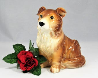 """CORGI DOG  Collie Puppy ?  RELPO  #1863 Planter. The Mid Century Pottery Dog Planter is 5"""" T x 4"""" D and is in Very Good Vintage Condition!"""