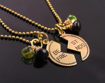 Best Friends Necklaces (2), Birthstone Jewelry, Best Friends Pendant Necklaces with Gemstones, Gem Necklace, Gemstone Jewelry, N942