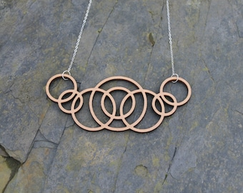 Solid Wood Oak Circles Statement Necklace. Sterling Silver.