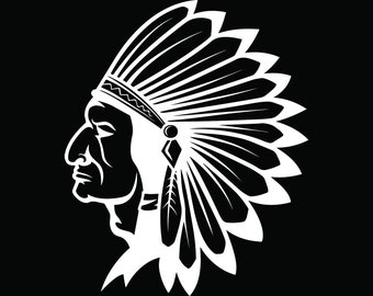 American Indian #12 Native Warrior Headdress Feather Tribe Chief Aztec Mascot Tattoo Logo .SVG .EPS .PNG Clipart Vector Cricut Cut Cutting