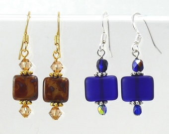 Czech Glass Square Earrings Dangle Earrings Gift Jewelry Gift Gold Earrings Beaded Earrings  Gift Jewelry Cobalt Blue Jewelry VanBeekJewelry