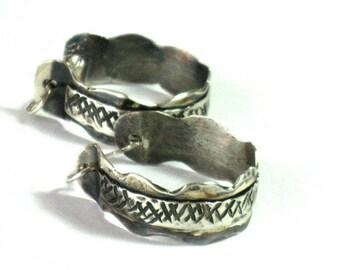 Hammered Silver Hoops, Boho Hoop Earrings, Hammered Hoop Earrings, Silver Hoop Earrings, Everyday Hammered Earrings, Solid Silver Hoops,