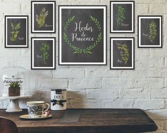 Unframed Watercolor Herb Poster Set French Wall Art, Herb Print Set Chalkboard Kitchen Art, French Kitchen Wall Decor, Dining Room Wall Art