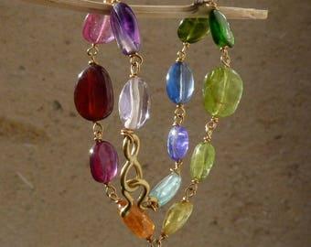 Bracelet or 18 ct, pierres précieuses
