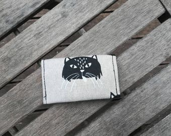 beige with black cats card holder