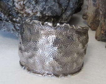 Sterling silver hammered cuff bracelet, brutalist, modernist, marked sterling, vintage, 46.6 grams