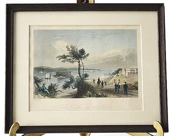 Antique Engraving Hand Colored W.H. Bartlett Fort Hamilton and the Narrows New York Framed Historical Print FREE SHIPPING