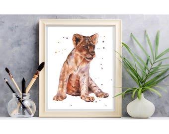 Baby LION Print, watercolor lion, safari nursery prints