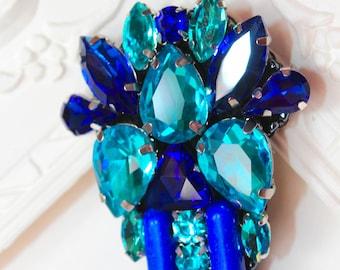 Blue Crystal Brooch, Swarovski crystal, blue cauliflower, Rhinestone brooch, personalized brooch, handmade jewelry