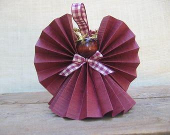 Burgundy Paper Angel Ornament / U-Pick Ribbon Trim Color / Paper Ribbon Angel / Paper Angel / Primitive Tree Decor / Angel Lover Gift
