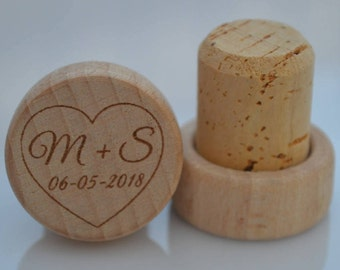 Personalized Wine Stoppers, Custom Wine Stopper, Engraved Wood Wine Stoppers,Customized Wine Cork, Wedding Party, Wedding Favor, Model 14