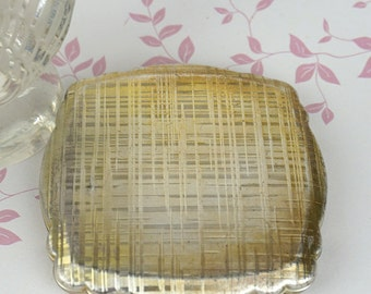 Vintage Very Worn Silver Tone Square Kigu Powder Compact has Internal Mirror