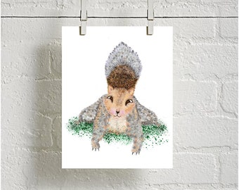 Squirrel Digital downloadable Print, Woodland Animal Print, Nursery Print, kids room decor, Printable Nursery, baby shower gift, baby decor