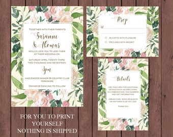 floral wedding invitation suite, watercolour wedding invitation, Printable wedding invitation set, digital wedding invitation suite, U PRINT