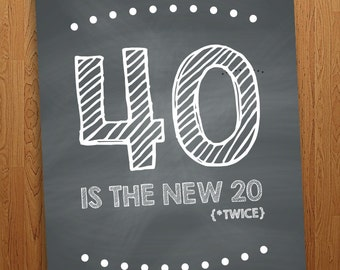 "FUNNY - 40 is the new 20 Printable Birthday Card (4x6"")"