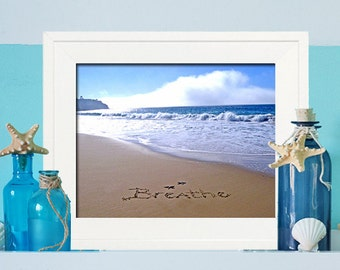 Breathe Sign - Spa SIgn - Beach Bathroom Decor - Beach Sign -  - Beach Spa Sign - Housewarming Gift - Beach Decor