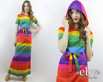 Rainbow Dress Pride Dress 70s Maxi Dress 70s Dress 1970s Maxi Dress 1970s Dress Hippie Dress Hippy Dress Striped Dress Hooded Dress S
