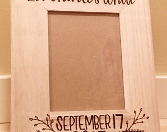 Custom woodburned frame • miss you • new baby • congratulations