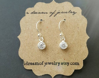Tiny sterling silver earrings- round crystal CZ, french wire or leverback