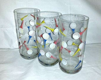 Culver Golf Tumblers,Set of 3,Culver,Golf Glassware,Signed,Golf Ball,Tee,,Culver Barware,Culver HighBall,Culver Tumblers,Golf Highball Glass