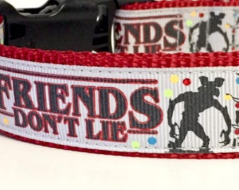 Stranger Things Inspired Dog Collar, Friends Don't Lie, Grey, Elevens Waffles, Horror,