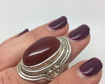 silver ring with red onyx stone,red onyx ring,red onyx jewelry,silver jewelry,boho rung,gypsy ring,tribal ring,stone ring,stone jewelry,
