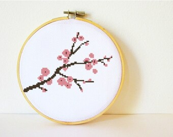 Counted Cross stitch Pattern PDF. Instant download. Cherry Blossom. Includes easy beginner instructions.
