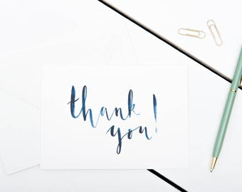 Thank You Cards // 1 pack / 5 pack / 10 pack // A6 Greetings Card // Blue Brush Lettered Watercolour Cards