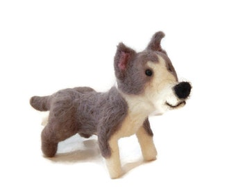 Personalised Memorial Dog Sculpture, Needle Felted Dog - Pit Bull Terrier. Staffie,  Staffordshire bull terrier  or any breed Made To Order