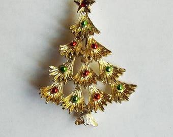 Vintage Gerry's Goldtone Christmas Tree Brooch or Pin