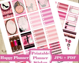PRETTY in PINK Planner Stickers Kit - Pink Printable Planner Stickers Mambi Happy Planner Stickers Monthly Week Functional Stickers DOWNLOAD