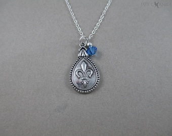 Three Musketeers - Fleur-de-lis Charm Necklace - Silver
