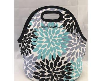 C.C. Neoprene Insulated Lunch Bag | Kids Lunch Bag | Office Lunch Bag | Lunch Box |Vacation Cooler Bag |Teacher Gift Nurse Gift|Dahlia Black