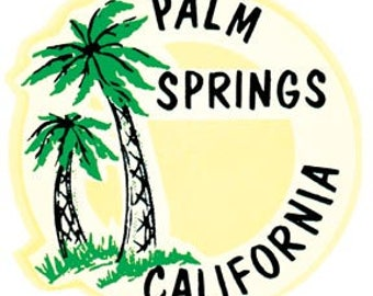Vintage Style Palm Springs California round  Travel Decal sticker