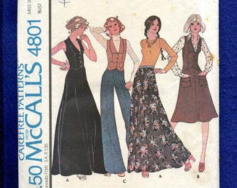 1970's McCall's 4801 Fitted Vest Flared Skirt & Pants Pattern Size 10