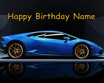 Blue Lamborghini Lambo Car Edible Image Cake Topper Personalized Birthday  1/4 Sheet