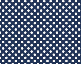 Riley Blake Fabric - 1/2 Metre Small Dots in Navy
