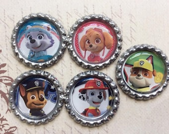 SET of 5 -PAW Patrol inspired Bottle Caps For Pendants, Hairbows Hair Bow Centers - Ready to use