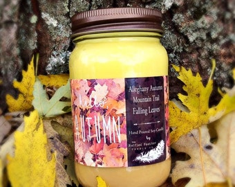 Hello Autumn Soy Candle, 16oz,  Scent trio, Scents include: Alleghany Autumn, Falling Leaves, & Mountain Trail