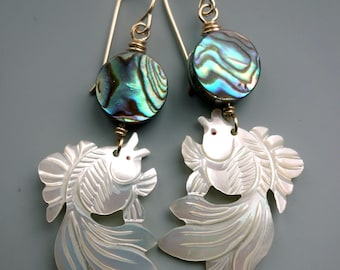Carved Mother Pearl Goldfish Earrings