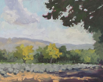 Hint of Autumn - Los Poblanos - Albuquerque - New Mexico - Original Oil Landscape Painting