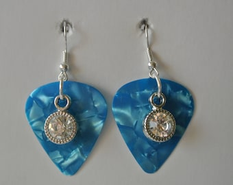 Light Blue Guitar Pick with Diamond and Silver Fishhooks