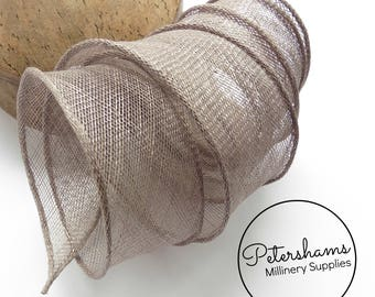 Hand Rolled Sinamay Ribbon Trim for Millinery, Hat Making & Fascinators - Pewter Grey