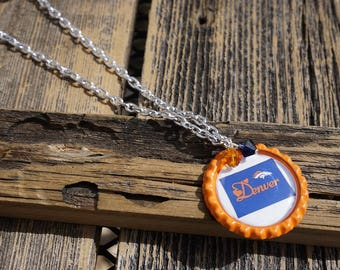 Handmade Necklace Denver Broncos by Sonyarita Designs