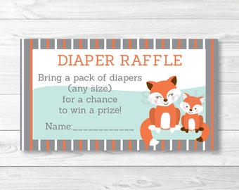 Cute Fox Diaper Raffle Tickets / Fox Baby Shower / Woodland Baby Shower / Baby Shower Raffle / Gender Neutral / INSTANT DOWNLOAD A404