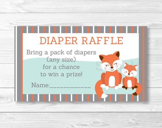 Cute Fox Diaper Raffle Tickets Fox Baby Shower Woodland