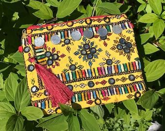 Indian Bag | Banjara Indian Clutch | Yellow Ethnic Make up Bag | Ibiza Clutch | Kuchi Makeup Bag | Vintage Envelope Bag | Gypsy Bag