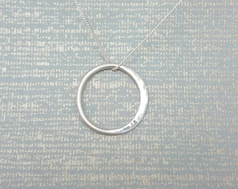 Crescent moon Necklace / Sterling silver / Silver hammered full moon / Half moon / Modern pendant / Halo circle